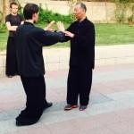 Benoît en correction avec professeur Zuo, disciple de Maître Ma