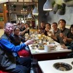 Repas de fin de stage, fondue chinoise avec le professeur Zuo, sa disciple Liu, un de ses élèves et traducteur Norman et Jehanne, notre traductrice et guide